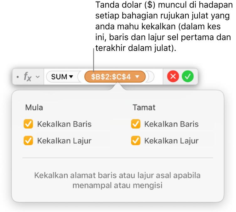 Editor formula dengan rujukan baris dan lajur dikekalkan.