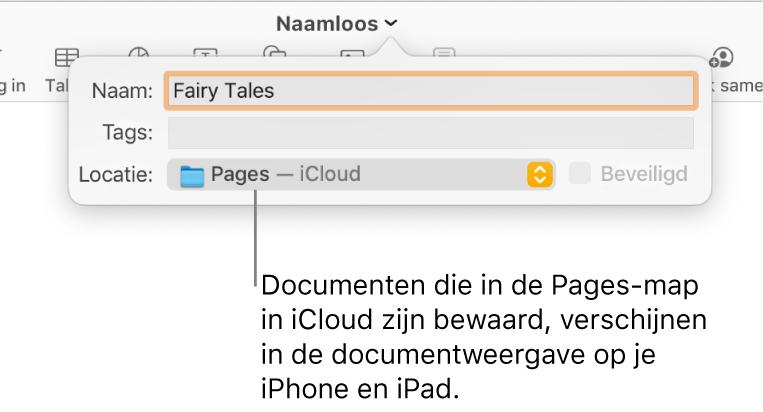 Het dialoogvenster 'Bewaar' in het venstermenu 'Locatie' voor een Pages-document in iCloud.