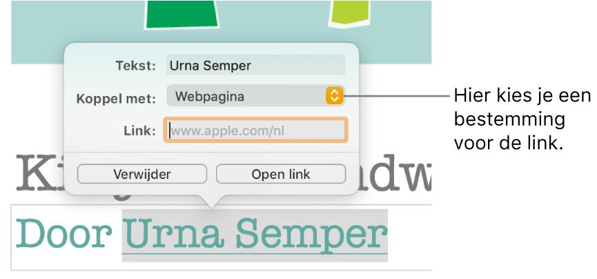 De regelaars in de linkeditor met het veld 'Tekst', het venstermenu 'Koppel met' (ingesteld op 'Webpagina') en het veld 'Link'. Onder aan de regelaars staan de knoppen 'Verwijder' en 'Open link'.