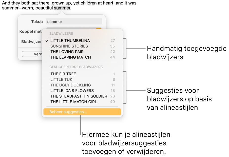 De lijst met bladwijzers met bovenaan de handmatig toegevoegde bladwijzers en daaronder de bladwijzersuggesties. Helemaal onderaan staat de optie 'Beheer suggesties'.