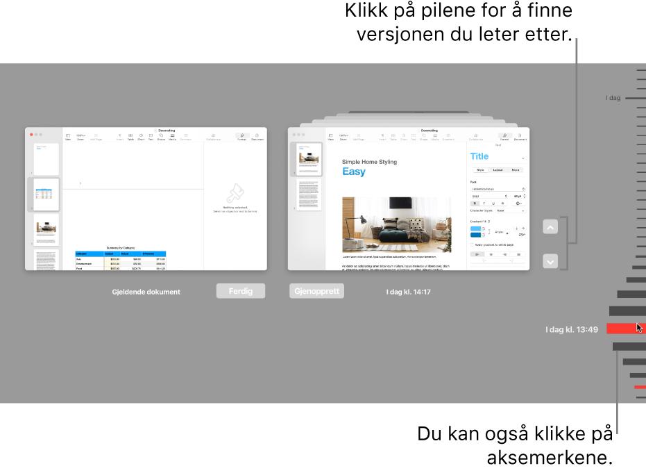 Versjoner-tidslinjen, som viser gjeldende dokument til venstre og en tidligere versjon til høyre.