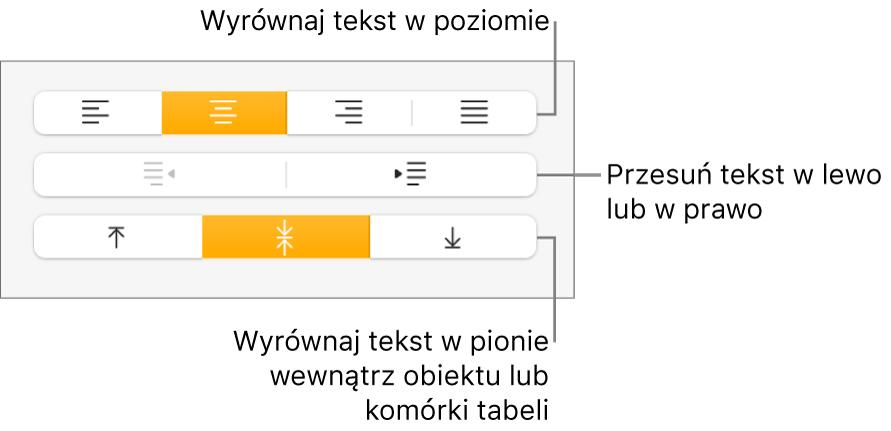 Sekcja Wyrównanie winspektorze formatu, zawierająca przyciski wyrównywania tekstu wpoziomie iwpionie oraz przyciski do przesuwania tekstu wlewo lub wprawo.