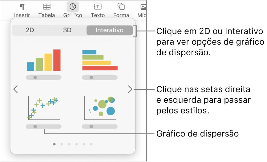 Menu Adicionar gráfico mostrando opção de gráfico de dispersão.