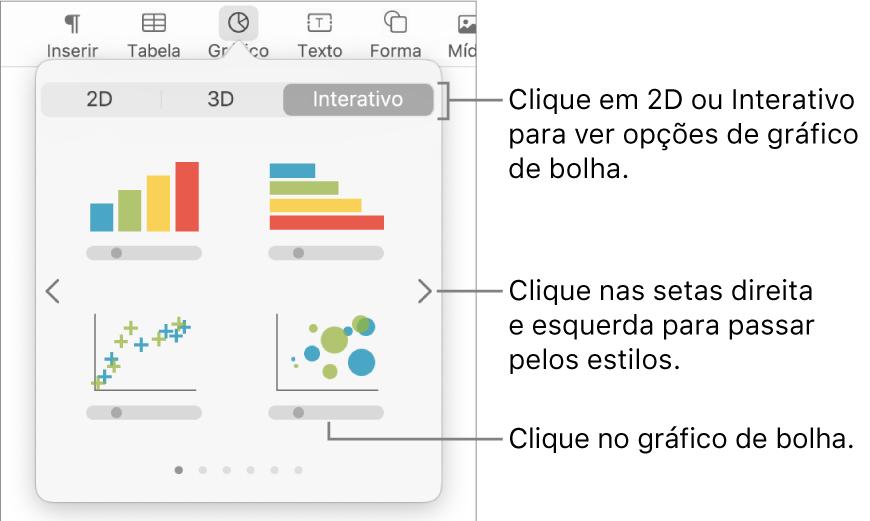 Menu Adicionar gráficos mostrando gráficos interativos, com chamada para uma opção de gráfico de bolha.