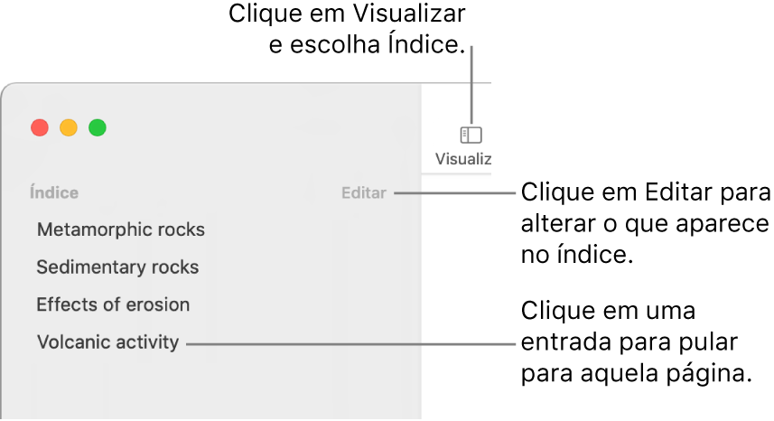 Índice no lado esquerdo da janela do Pages, com um botão Editar no canto superior direito da barra lateral e as entradas do índice em uma lista.