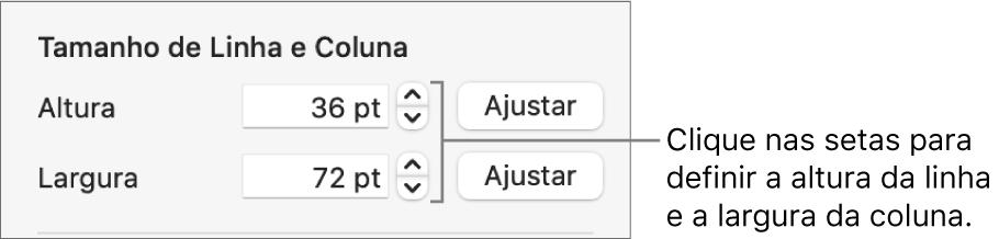 Controles para definir um tamanho exato de linha ou coluna.