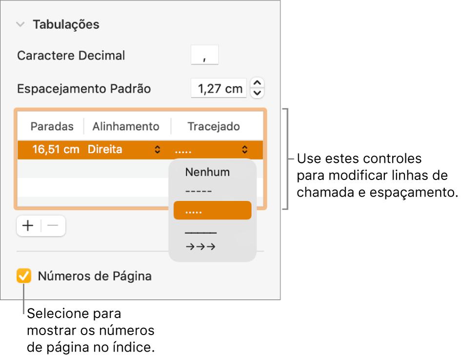 Seção Tabulações da barra lateral Formatar. Abaixo de Espacejamento Padrão aparece uma tabela com as colunas Paradas, Alinhamento e Tracejado. A opção Números de Página aparece selecionada abaixo da tabela.