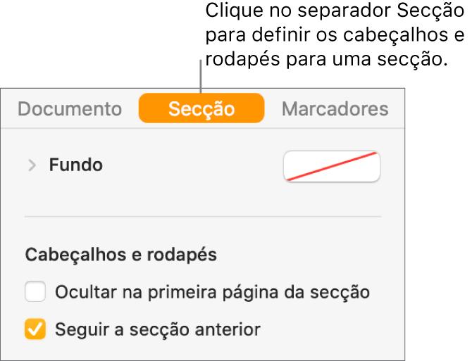 """A barra lateral Documento com o separador Secção na parte superior da barra lateral selecionada. A secção """"Cabeçalhos e rodapés"""" da barra lateral tem opções assinaláveis ao lado de """"Ocultar na primeira página da secção"""" e """"Seguir a secção anterior""""."""