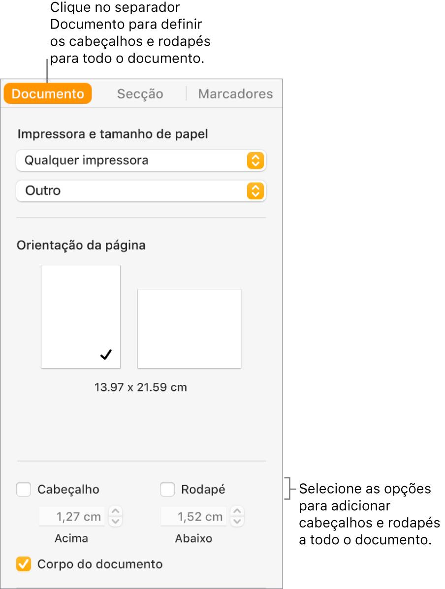 A barra lateral Documento com o separador Documento na parte superior da barra lateral selecionada. Por baixo das opções Cabeçalho e Rodapé estão setas para alterar a distância dos cabeçalhos e rodapés da parte superior e inferior da página.