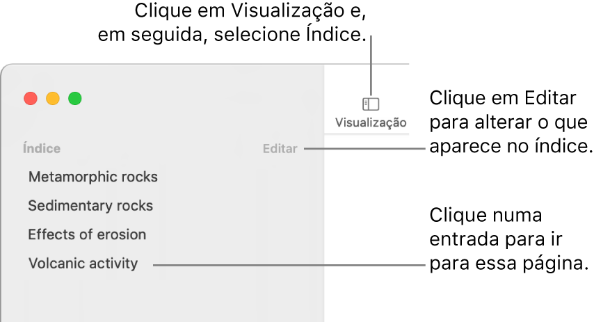 O índice no lado esquerdo da janela do Pages com o botão Editar no canto superior direito da barra lateral e as entradas do índice na lista. O botão Visualização encontra-se no canto superior esquerdo da barra de ferramentas do Pages, por cima da barra lateral.