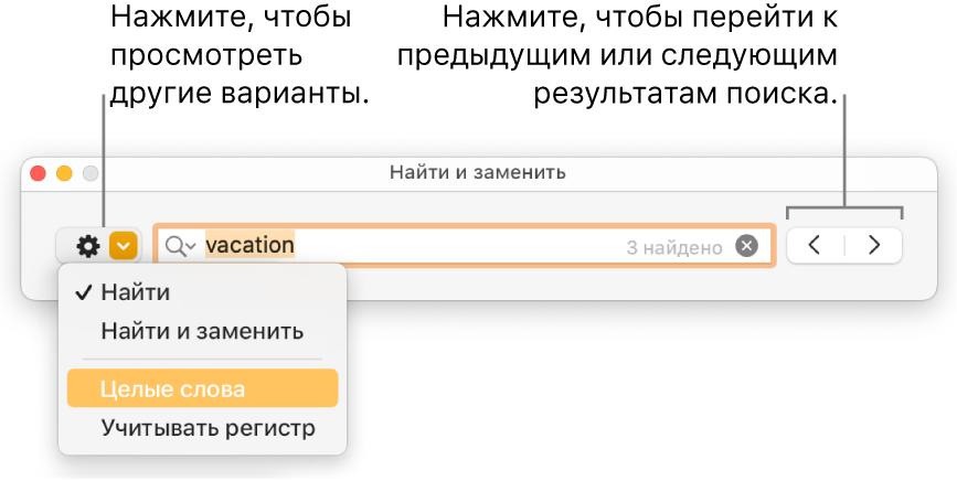 Окно «Найти и заменить» с вынесенной кнопкой отображения параметров «Найти», «Найти и заменить», «Целые слова» и «Регистр». Кнопки со стрелками для навигации справа.