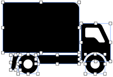 Zlúčený tvar rozložený na jednotlivé tvary.
