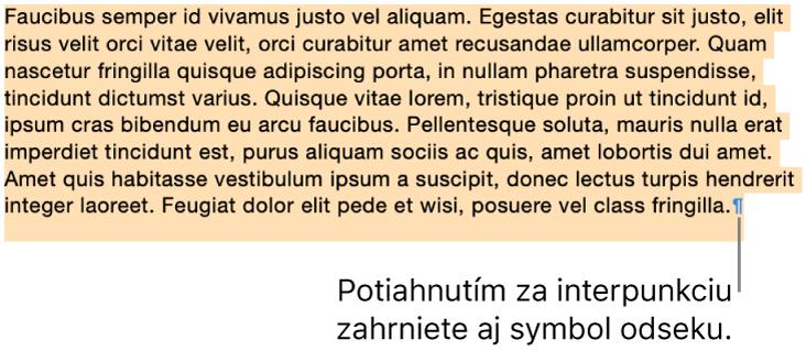 Označený odsek so symbolom odseku zarnutom vo výbere.