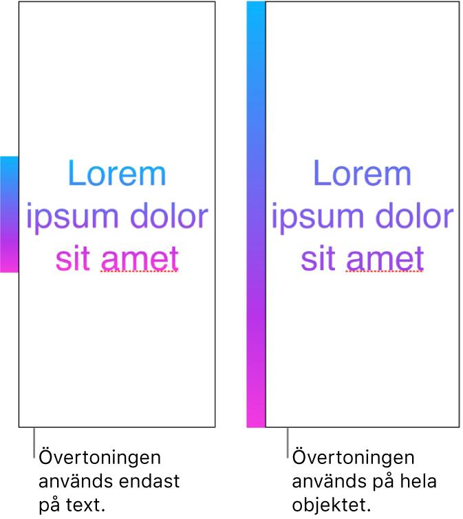 Ett exempel på text där övertoningen används på bara texten så att hela färgspektrumet visas i texten. Bredvid visas ett annat exempel på text där övertoningen används på hela objektet, så att bara en del av färgspektrumet visas i texten.