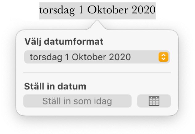 Reglagen Datum och tid med en popupmeny för datumformat och knappen Ställ in som idag.