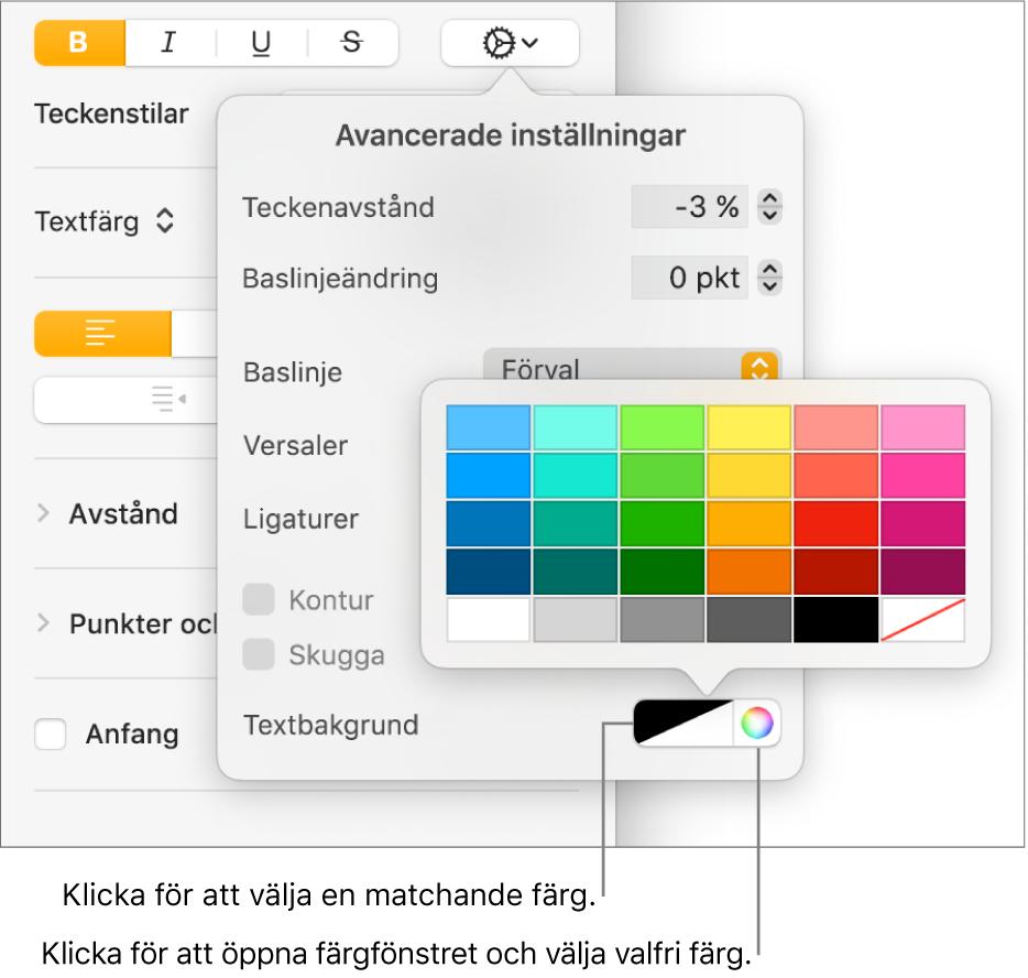 Reglage för att välja en bakgrundsfärg för text.
