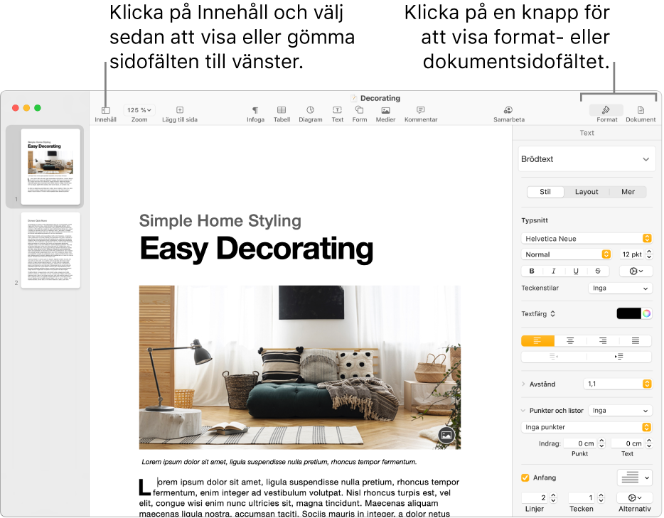 Pages-fönstret med linjer som pekar på menyknappen Innehåll och knapparna Format och Dokument i verktygsfältet. Sidofält är öppna till vänster och till höger.