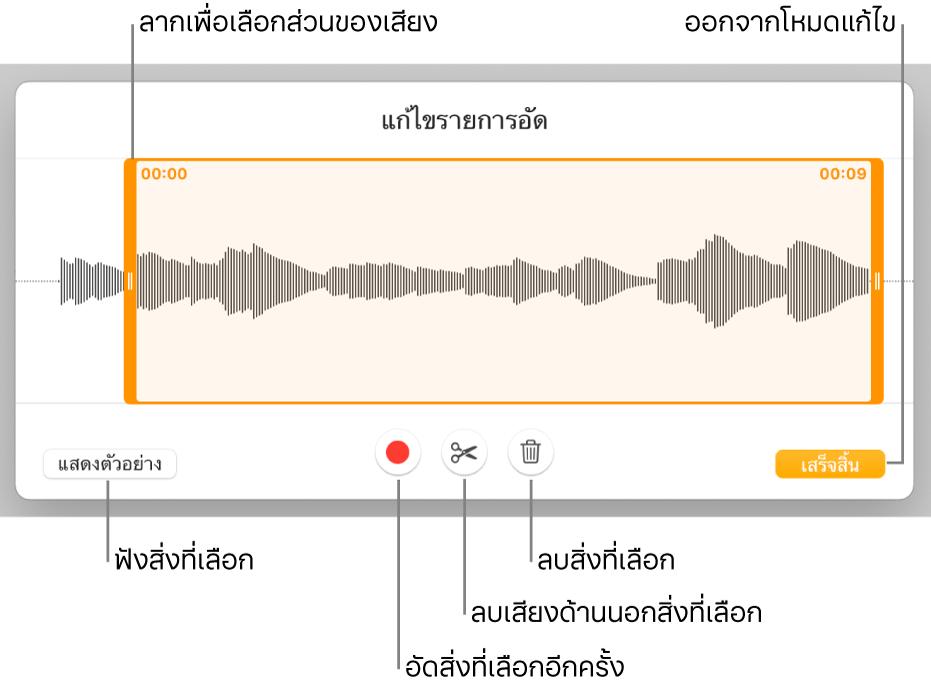ตัวควบคุมสำหรับแก้ไขเสียงที่อัด ขอบจับจะบ่งบอกส่วนที่เลือกอยู่ของรายการอัด และปุ่มแสดงตัวอย่าง อัด ตัดต่อ ลบ และโหมดแก้ไขจะอยู่ทางด้านล่าง