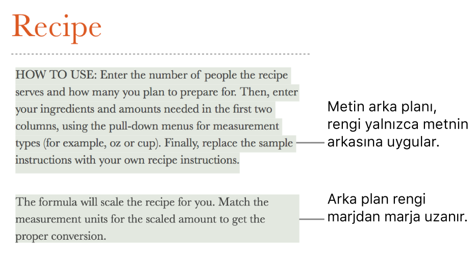 Sadece metnin arkasında renk olan bir paragraf ile blok içinde arkasındaki renk bir marjdan diğerine uzanan ikinci bir paragraf.