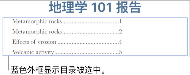目录被插入到文稿中。条目显示了小标题及其页码。