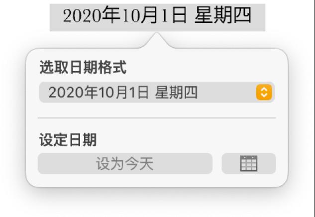 """""""日期与时间""""控制,显示了日期格式的弹出式菜单和""""设为今天""""按钮。"""