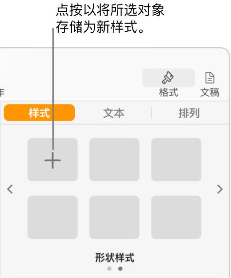 """""""格式""""边栏中的""""样式""""标签,左上角为""""创建样式""""按钮以及五个空白样式占位符。"""