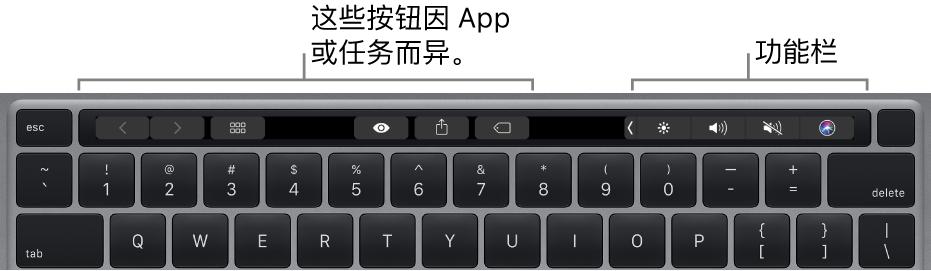 触控栏位于数字键上方的键盘。修改文本的按钮位于左侧和中间。右侧的功能栏含亮度、音量和 Siri 的系统控制。