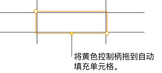所选单元格带有黄色控制柄,可拖移以自动填充单元格。