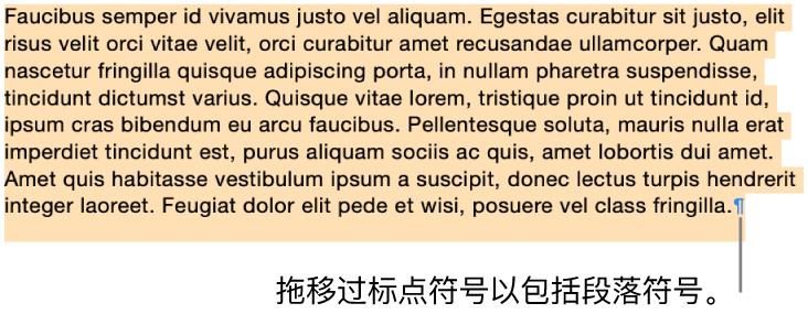选中一个段落,所选部分中包括段落符号。