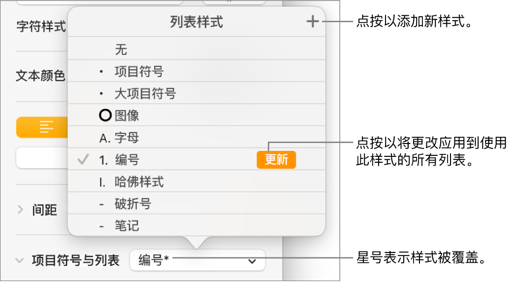 """""""列表样式""""弹出式菜单,带有表示覆盖的星号、""""新样式""""按钮的标注以及用于管理样式的选项的子菜单。"""