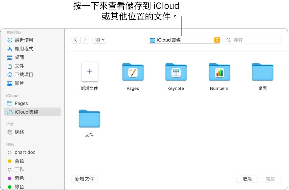「開啟」對話框的左側開啟側邊欄,最上方的彈出式選單中選擇了 iCloud 雲碟。Keynote、Numbers 和 Pages 的資料夾和「新增文件」按鈕一起顯示在對話框中。