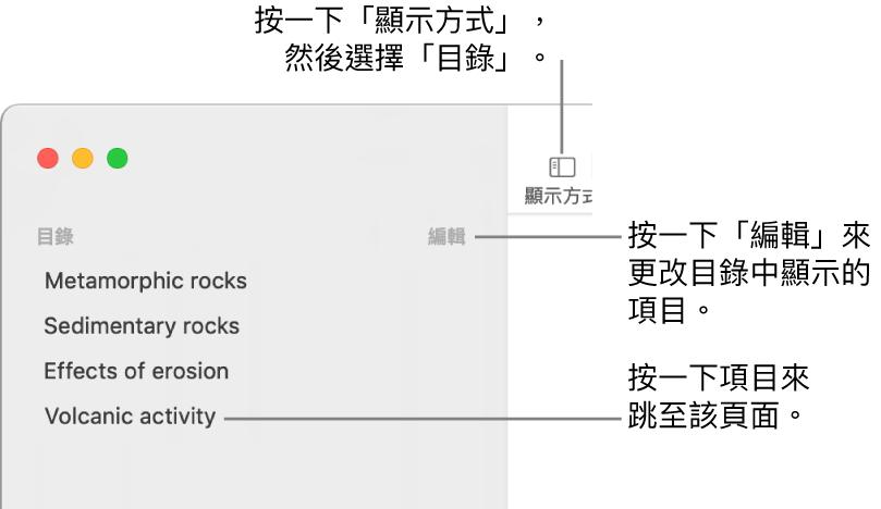 Pages 視窗左側的目錄,「編輯」按鈕位於側邊欄右上角,目錄項目位於列表中。「顯示方式」按鈕位於 Pages 工具列左上角,側邊欄的上方。