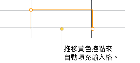 選取的輸入格帶有黃色控點,您可以拖移來自動填充輸入格。