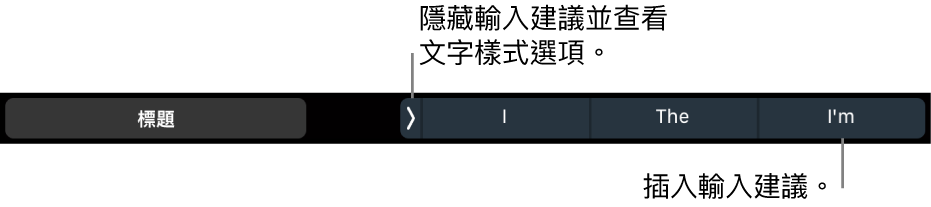 MacBook Pro 觸控列顯示控制項目,可用來選擇文字樣式、隱藏輸入建議以及插入輸入建議。