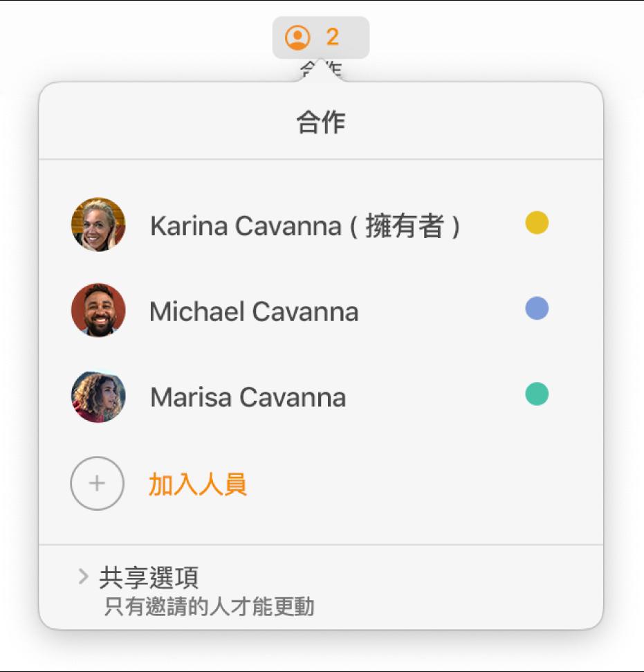 「合作」選單,顯示合作編輯文件的人員名稱。分享選項顯示在名稱下方。