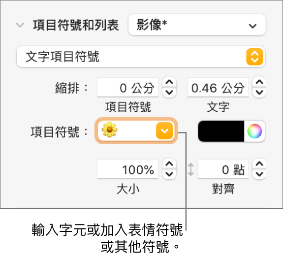 「格式」側邊欄的「項目符號和列表」區域。「項目符號」欄位顯示了花朵的表情符號。