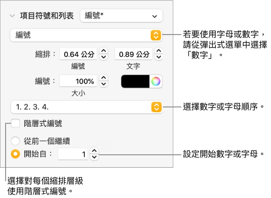 更改列表編號樣式與間距的控制項目。