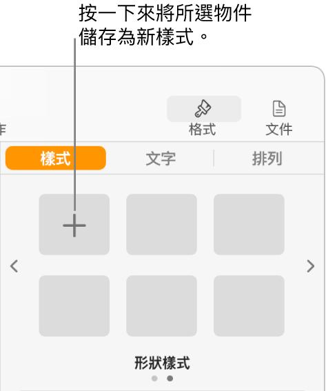 「格式」側邊欄的「樣式」標籤頁,左上角為「製作樣式」按鈕,另包含五個空白樣式暫存區。
