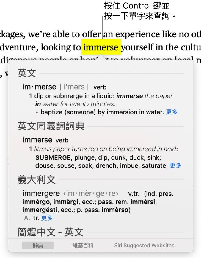 段落包含反白的單字,一個視窗顯示其定義和同義詞詞條。視窗底部的按鈕提供了字典、維基百科和 Siri 建議網站的連結。