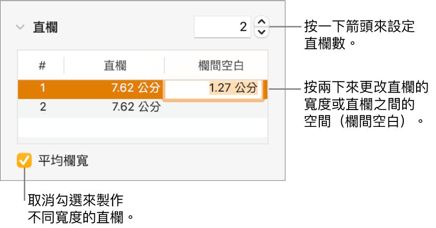 「格式」檢閱器的「佈局」面板,其中顯示直欄控制項目。