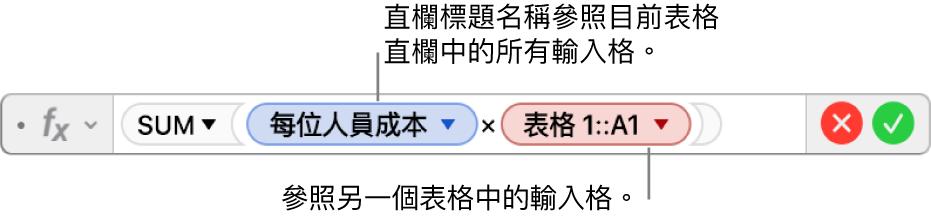 顯示公式的「公式編輯器」,其參照一個表格中的直欄與另一個表格中的輸入格。