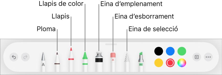 La barra d'eines de dibuix, amb una ploma, un llapis, un llapis de colors, l'eina d'emplenament, l'eina d'esborrament, l'eina de selecció i la paleta de colors que mostra el color actual.