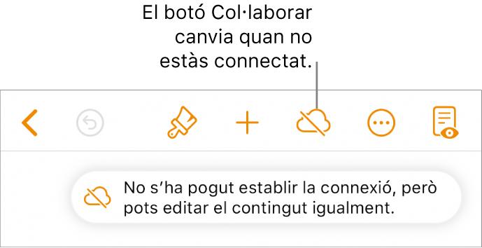"""Els botons de la part superior de la pantalla, amb el botó Col·laborar en forma de núvol amb una línia diagonal a sobre. Una alerta a la pantalla amb el missatge """"No tens connexió a internet, però pots fer edicions igualment""""."""