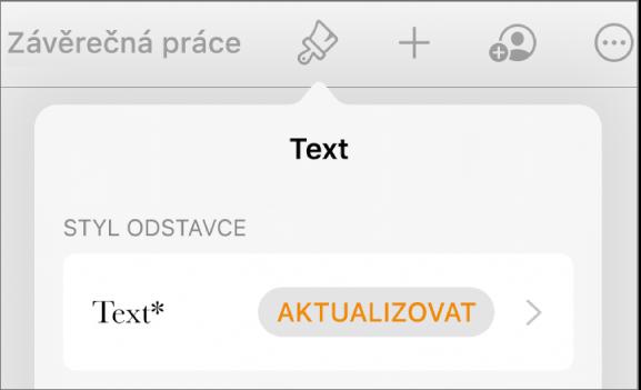 Styl odstavce Hlavní text shvězdičkou; napravo je tlačítko Aktualizovat
