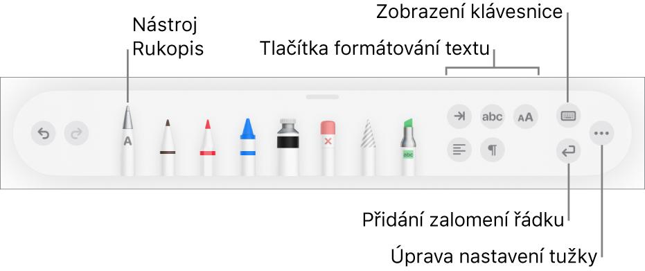 Panel snástroji pro psaní, kreslení aanotování; nalevo je nástroj Rukopis. Napravo jsou vidět tlačítka pro formátování textu, zobrazení klávesnice, přidání zalomení odstavce aotevření nabídky Více.