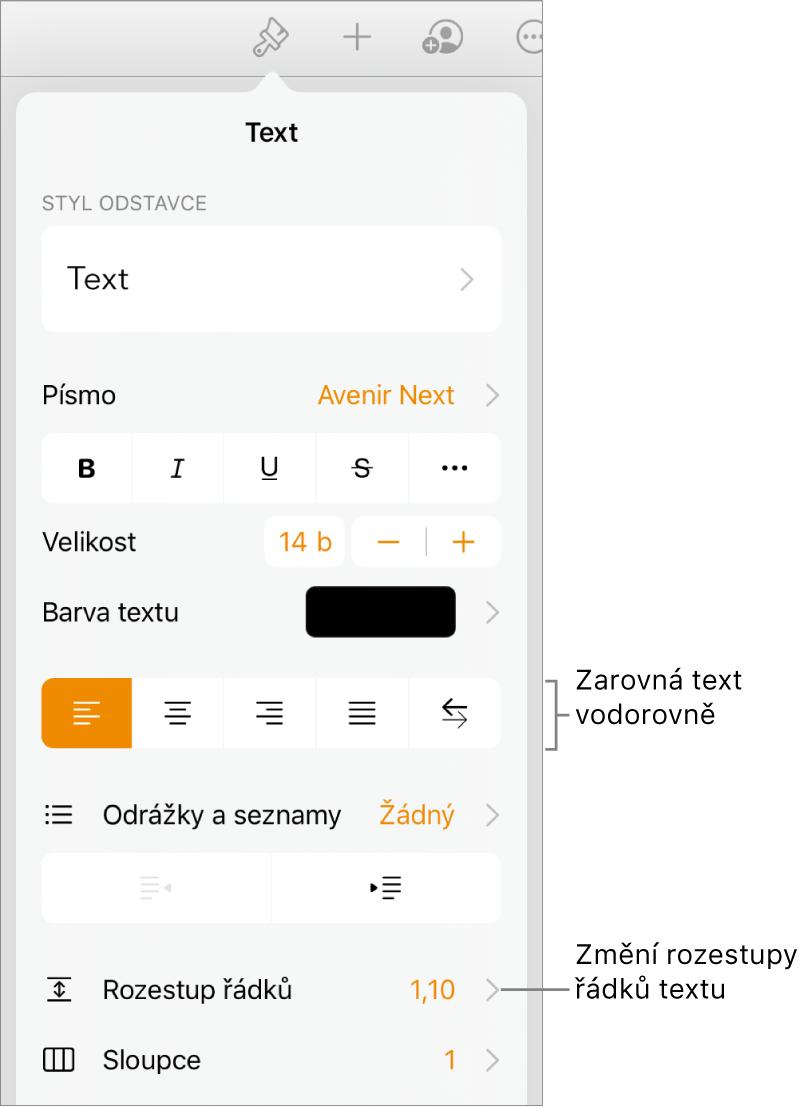Ovládací prvky formátování svybranou kartou Text; popisky označují tlačítka pro zarovnání textu apoložku nabídky Řádkování