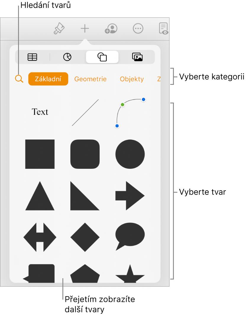 Knihovna tvarů. Nahoře jsou uvedeny kategorie, pod nimi tvary. Pomocí tlačítka hledání vhorní části můžete vyhledat požadované tvary. Přejetím zobrazíte další tvary.
