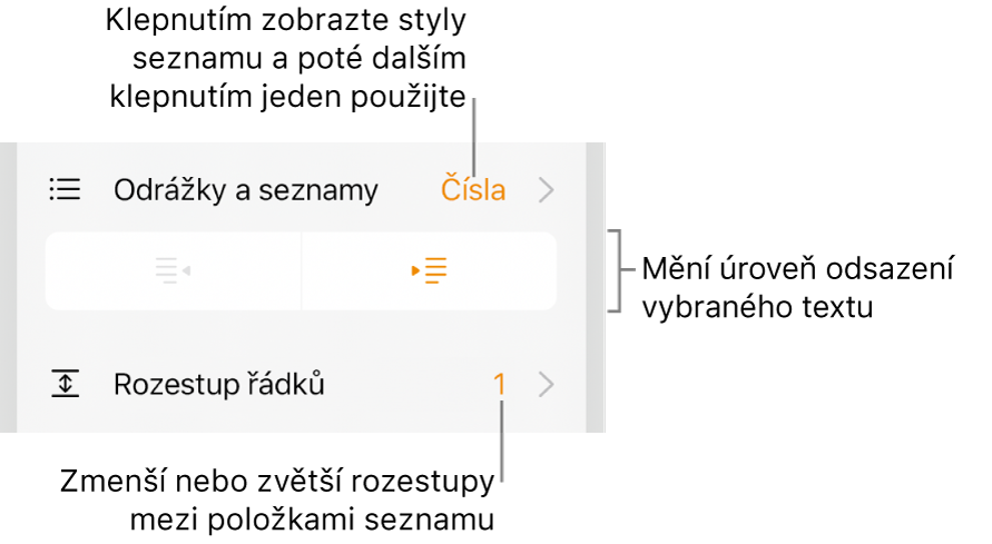 Ovládací prvky Formát spopisky prvků vnabídce Odrážky aseznamy, tlačítek odsazení ařádkování
