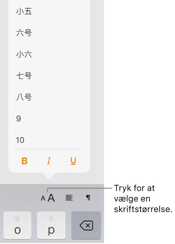 Knappen Skriftstørrelse i højre side af tastaturet på iPad og menuen Skriftstørrelse. De standardskriftstørrelser, der er fastlagt af regeringen i Kina, fastlandet, vises øverst på menuen efterfulgt af punktstørrelserne.