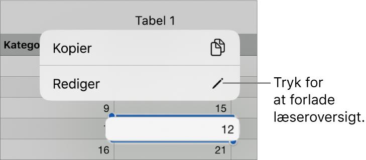 En tabelcelle er valgt, og over den ses en menu med knapperne Kopier og Rediger.